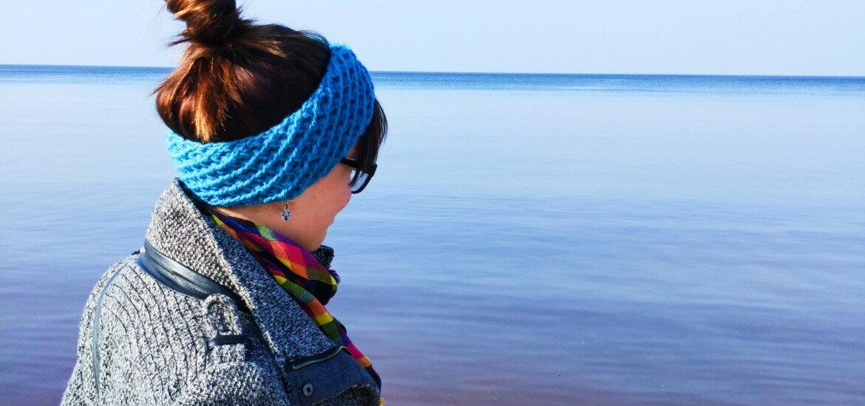 Opaska na głowę w kolorze morza